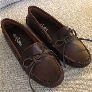 MINNETONKA Brown Leather DRIVING Loafers MOCCASINS
